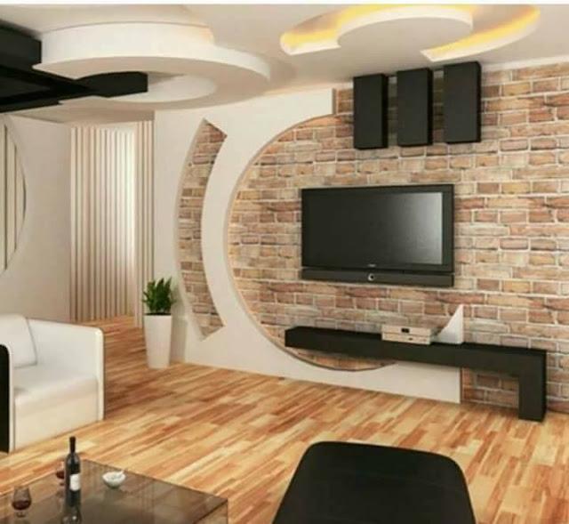 Стенка из кирпича как основной акцент гостиной комнаты - это оригинальный вариант оформления интерьера.