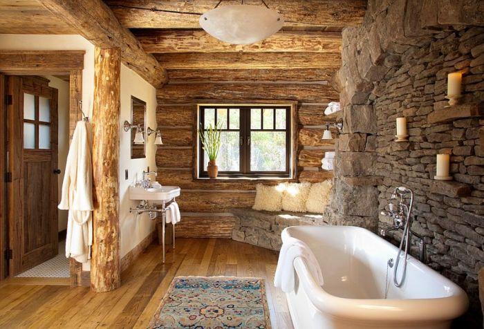 Сочетание древесины и камня в ванной комнате.