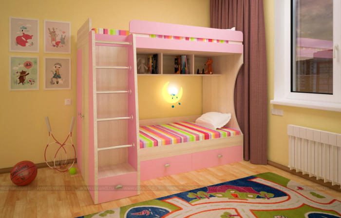 Детская двухэтажная кровать розового оттенка с встроенным освещением.