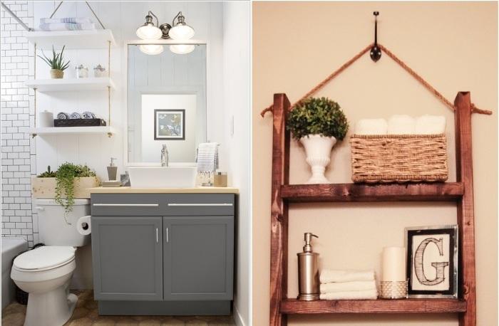 Деревянная полка на верёвках – не только удобный функционал в ванной комнате, но и отличный декоративный элемент интерьера.