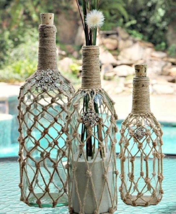 Поделки из стеклянных бутылок для настоящих любителей морской стихии.