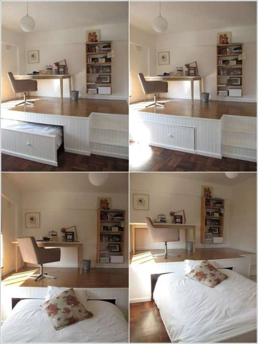 Спальное место, которое легко прячется в нишу под полом - отличное решение для малогабаритной квартиры.
