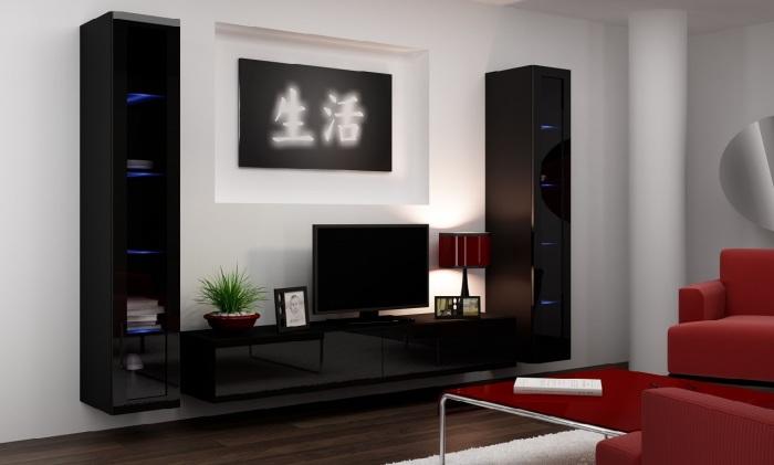 Контрастная модульная стенка в гостиной комнате с элементами восточного стиля.