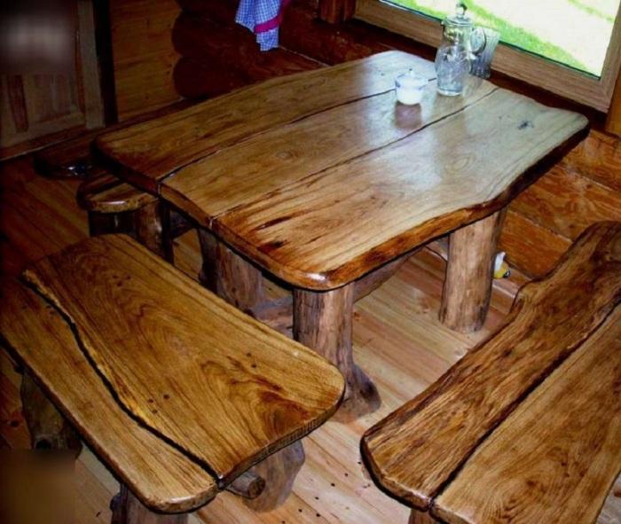 Классическая мебель ручной работы из массива дуба для бани.