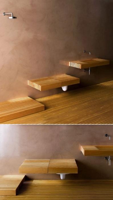 Очень необычно смотрятся в интерьере встроенные деревянные раковины.