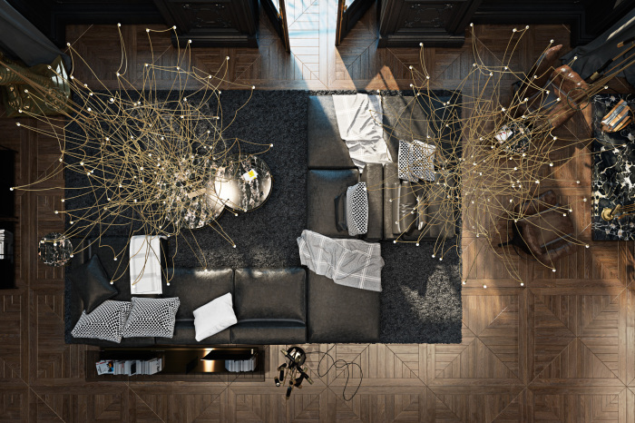 Вид сверху на современный интерьер стильных классических апартаментов.