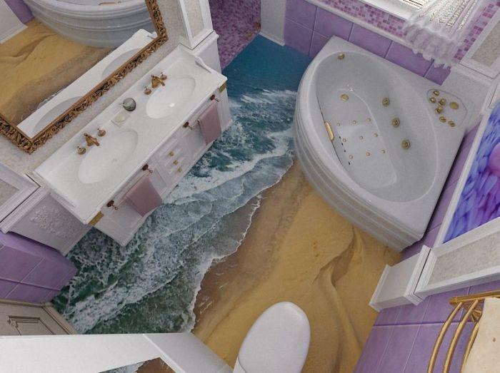 Напольное покрытие в ванной комнате с имитацией морского прибоя.