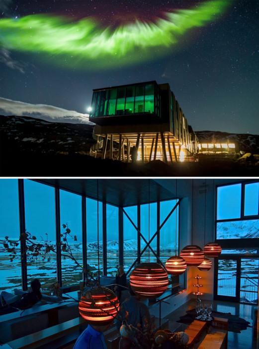 Из бара «Northern Lights Bar In Ion Hotel» открывается идеальный вид на Северное сияние.