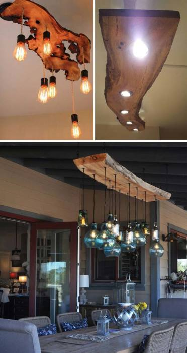 Оригинальные светильники из необработанной древесины, которые впишутся в кантри и экостиль.
