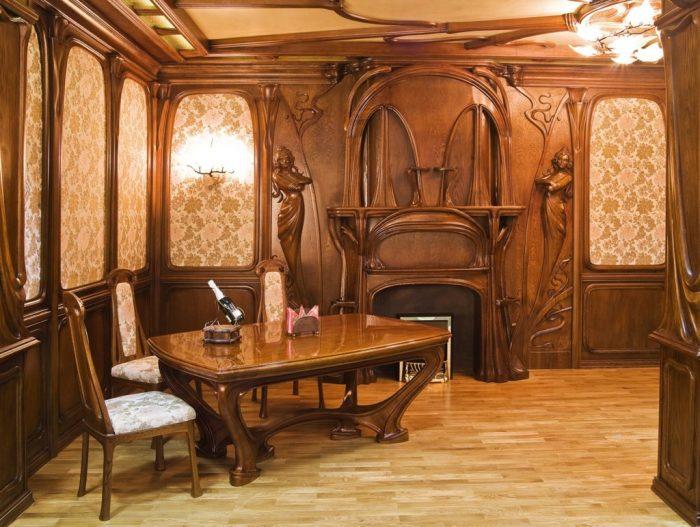 Великолепное дизайнерское решение по использованию натуральной дорогой древесины в оформлении современного жилища.