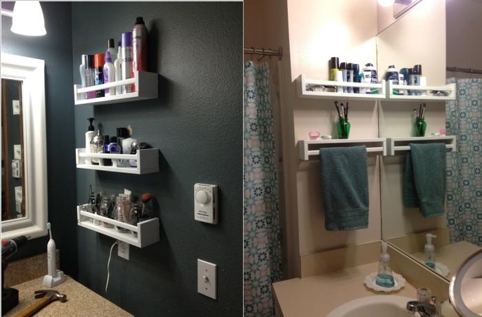 Пластиковые полки для ванной комнаты имеют перфорированное дно, позволяющее беспрепятственно стекать попавшей на полку воде.