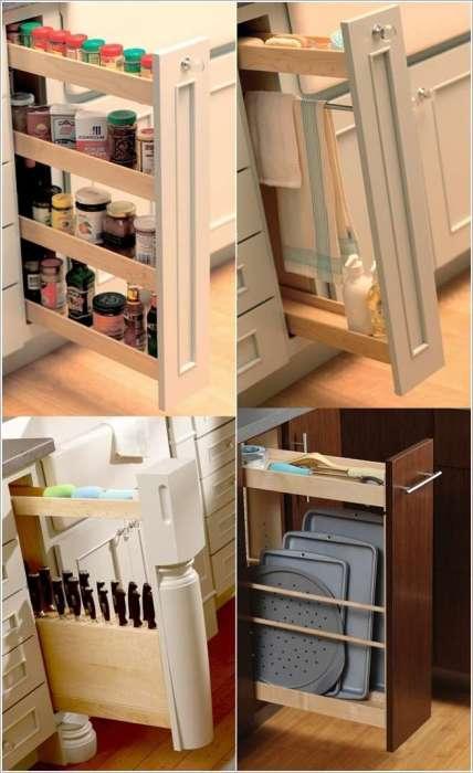Выдвижные ящики для хранения посуды и консервации, которые помогут рационально использовать любое свободное пространство даже на небольшой кухонной площади.