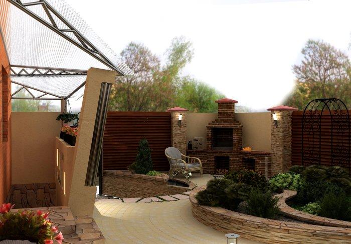 Зона для отдыха с ухоженным газоном, комфортной мебелью и большим камином.