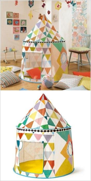 Детская игровая палатка, которая идеально вписывается в общий интерьер помещения.
