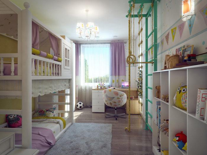Декор в детской комнате должен быть минимальным, легким и невесомым.