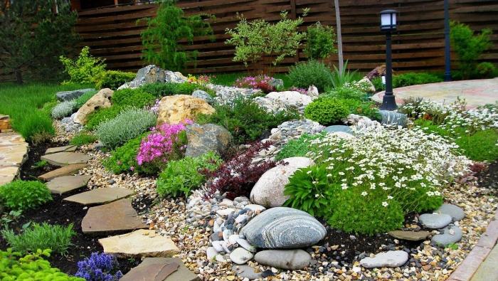 Альпийские растения хорошо сочетаются с разными видами камней, декоративным гравием или галькой.
