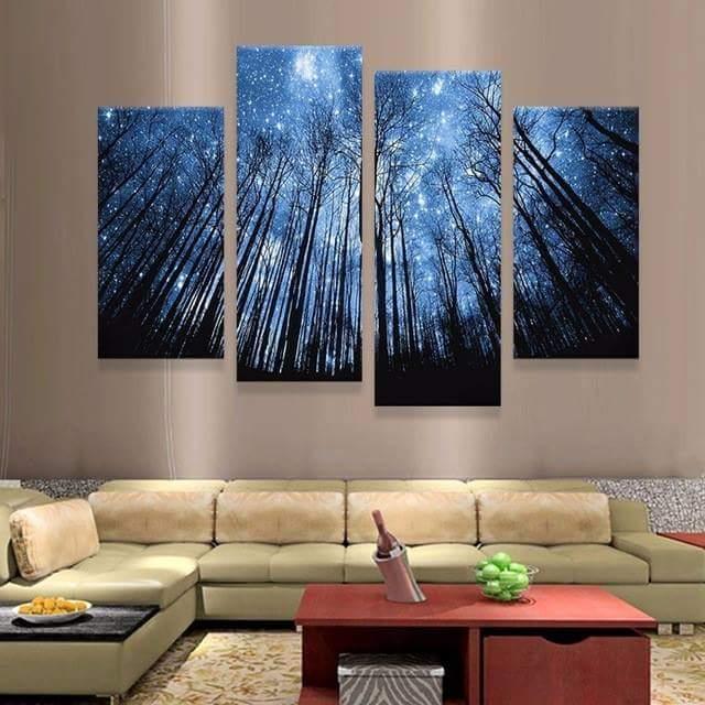 Реалистичные настенные картины с изображением ночного неба в гостиной комнате.