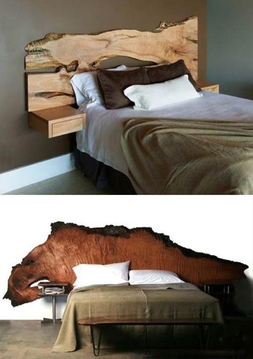 Очень эффектно будут смотреться изголовье кровати из необработанного куска древесины.