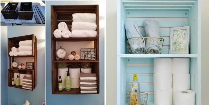 Из обычных деревянных ящиков можно создать необыкновенные полки для ванной комнаты.