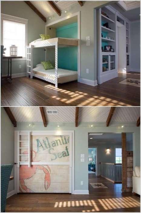 Простая трансформация превратит просторное помещение в уютную спальную комнату.