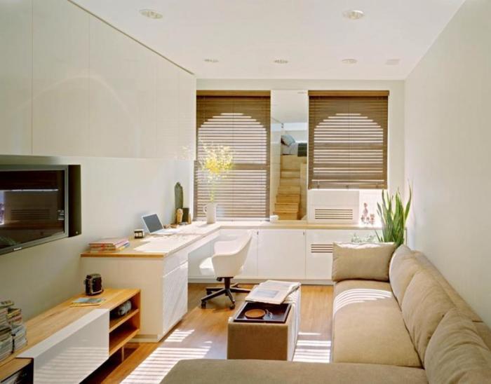 Отличный вариант совмещения рабочей зоны с гостиной комнатой.