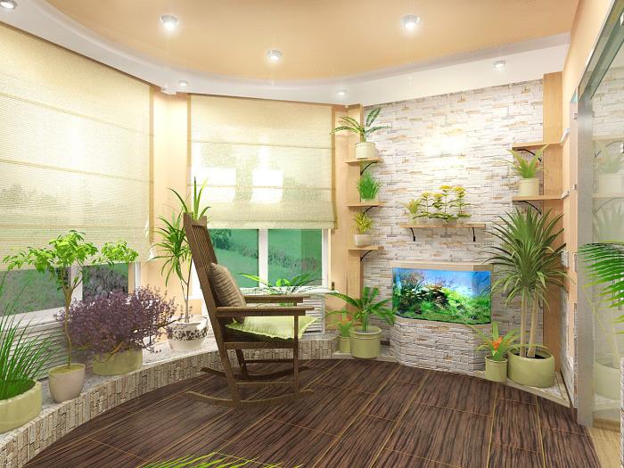 Созданное среди искусственных растений отличное место для отдыха.