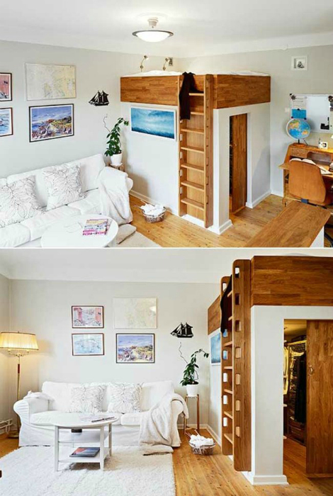 Спальное место на втором этаже над гардеробной комнатой позволит значительно сэкономить пространство в маленькой квартире.