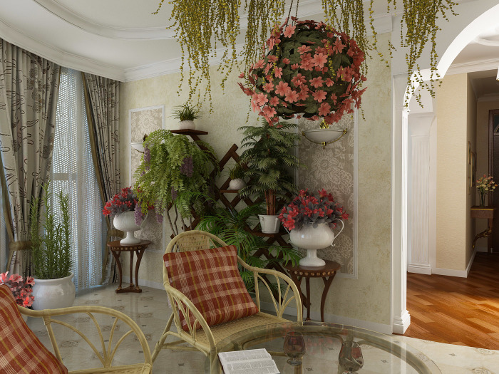 Зимний сад в интерьере гостиной комнаты создающий прекрасную атмосферу для отдыха.