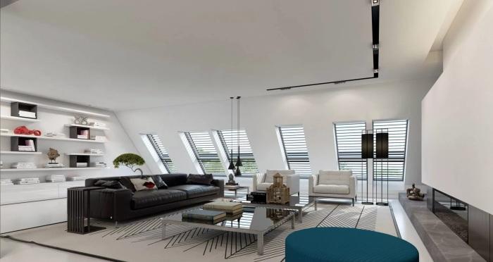 Контрастне поєднання світлого і темного кольору створять незвичайну атмосферу в апартаментах.