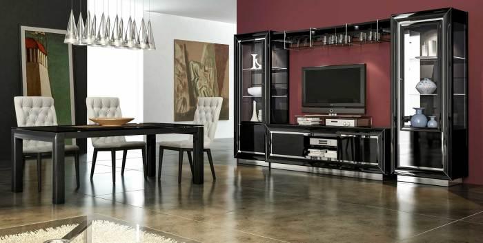 Стильная глянцевая модульная стенка чёрного цвета, которая задает настроение всему интерьеру.