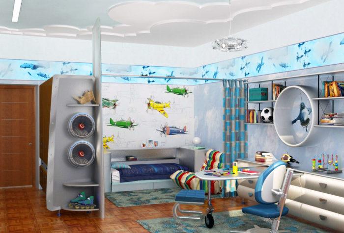 Современный интерьер детской комнаты для настоящих любителей авиационной тематики.