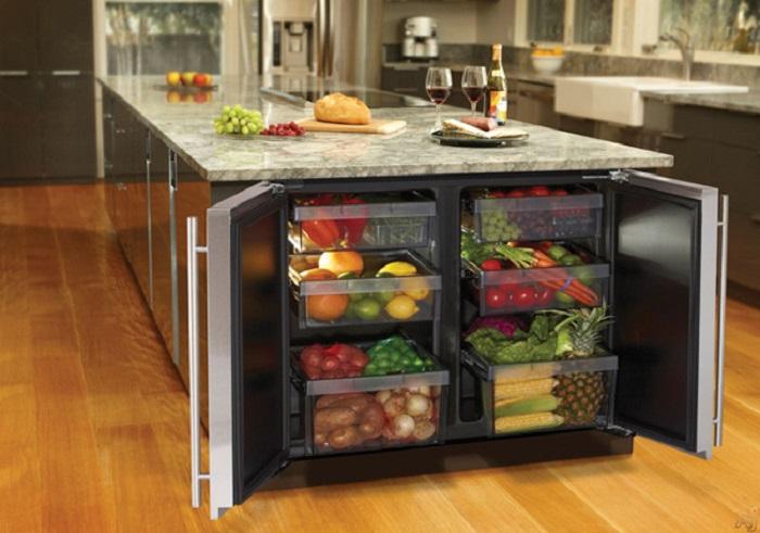 Встроенный шкаф для овощей, который поможет рационально использовать кухонное пространство.