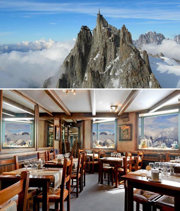 Уникальный и единственный в своем роде ресторан на горе Эгюий-дю-Миди на высоте 3842 метров, Шамони, Франция