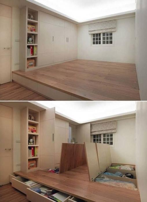 Скрытую нишу в полу не сложно установить, она не занимает много места и позволяет разместить немало вещей.