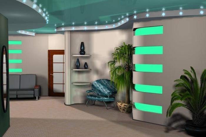 Встроенные потолочные светодиодные светильники идеально подходят для конструкции натяжного потолка.