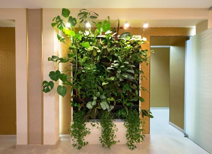 Вертикальный декоративный сад с подсветкой в интерьере гостиной комнаты.