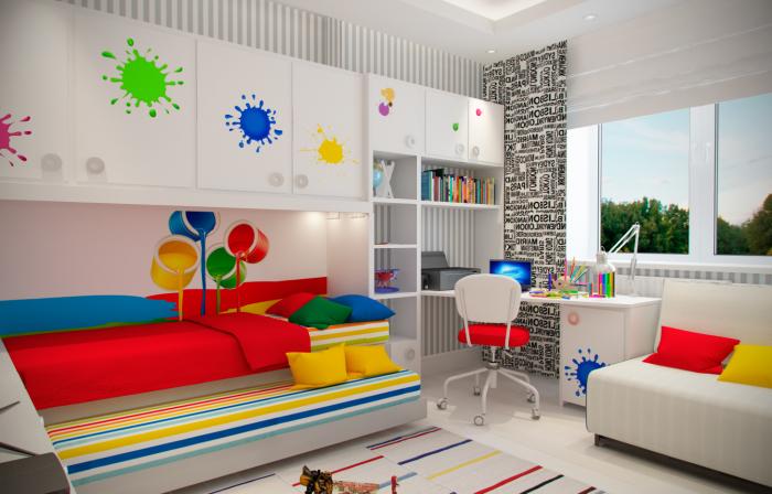 Кровать в одном стиле придаст детской  комнате яркий и оригинальный дизайн.