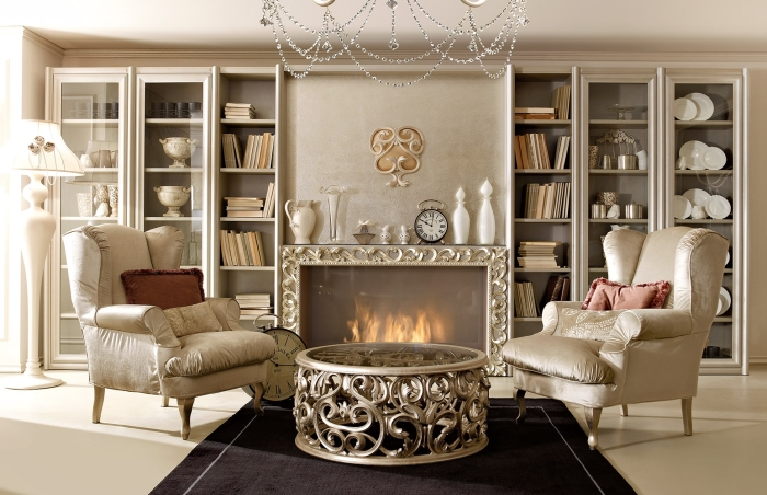 Аристократический английский стиль в гостиной комнате как образец роскоши настоящих королевских апартаментов.