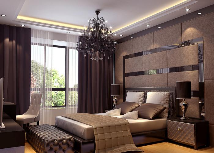 Профессиональное дизайнерское оформление спальной комнаты в традиционном современном стиле.