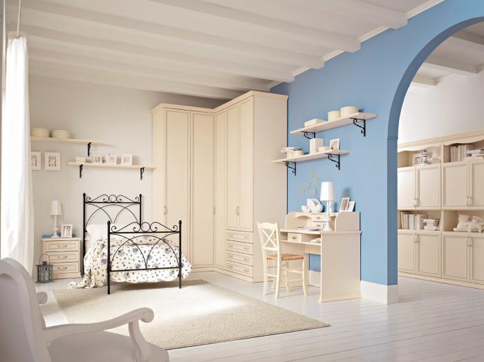 Необычная детская комната в мягких пастельных тонах.