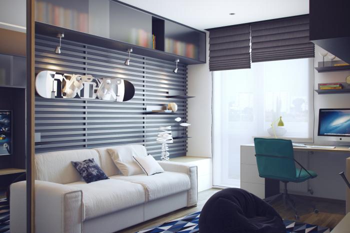 Классическая современная подростковая комната в стиле Хай-тек.