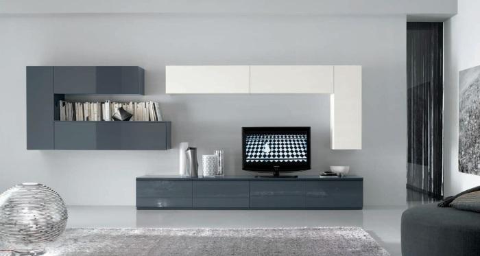 Модульная стенка отлично впишется в минималистский стиль гостиной комнаты.