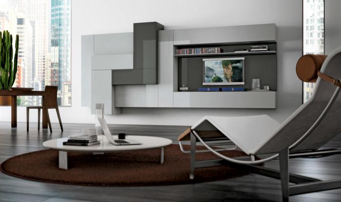 Ультрасовременная модульная стенка в зоне для просмотра телевизора.