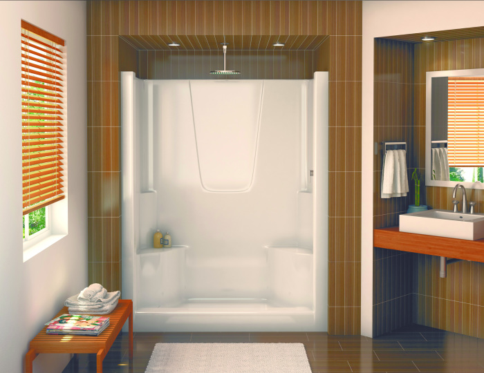 Оригинальный современный интерьер ванной комнаты с душевой кабинкой открытого типа.