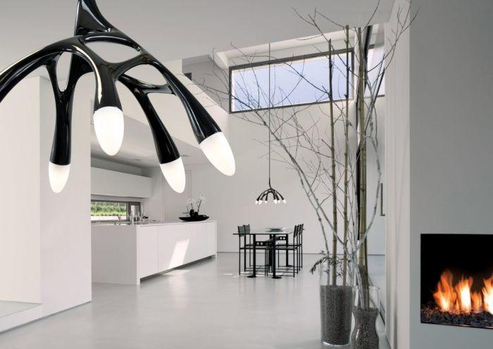 Современные светодиодные светильники позволят смягчить атмосферу в обеденной зоне.