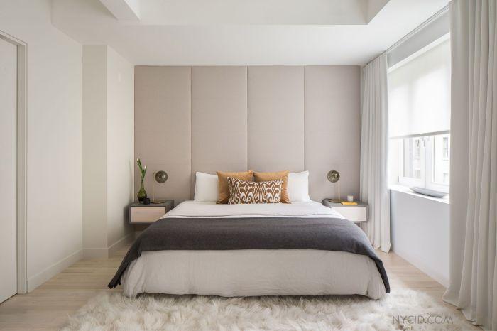 Правильно подобранная отделка изголовья кровати тканью к интерьеру – очень практичный и оригинальный вариант.