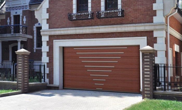 Ультрамодные металлические ворота для гаража.