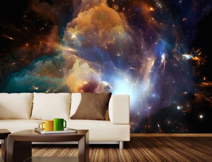 Необычные фотообои с космическими сюжетами отлично подойдут для оформления детской комнаты.