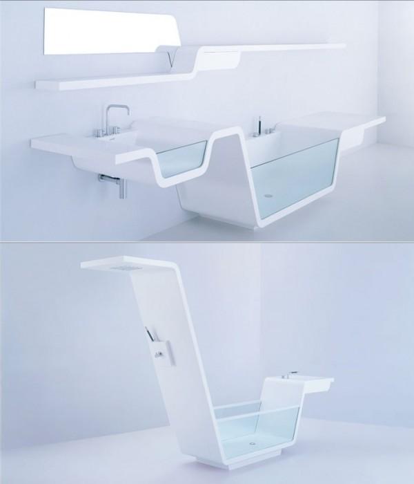 Высокотехнологичный и популярный стиль хай-тек в интерьере ванной комнаты.