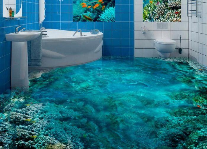 Ещё один необычный пол с трёхмерным изображением морского дна.